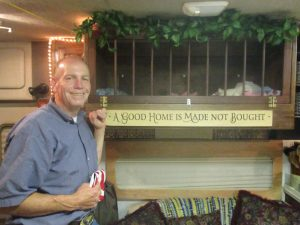 This is Pastor Fleck...the Pastor of the church that had VBS.  He built another bunk bed/crib for us in our RV.  He did a beautiful job and is standing right in front of it.
