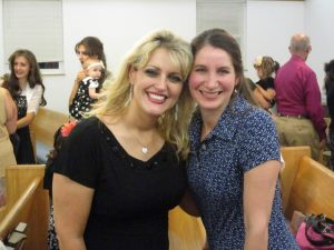 Katie Maulucci & I. (Missionary wife to Nick - missionaries to Bulgaria).  We were in a meeting with them.   ;)