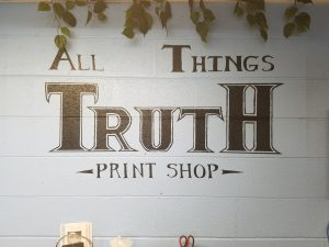 Now, for photos of the garage print shop - where Gospel Tracts come clicking on this press!!  It's SO exciting serving Jesus!!