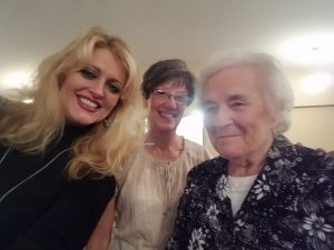 This dear lady - Betty (to the right) follows our family and came to the church to hear us sing.  She was such a sweetheart!!