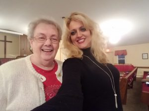 This is Jill pictured with the Pastor's wife of the next church we sang at in Palmyra, NY - Palmyra Bible Baptist Church.