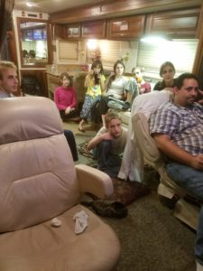 We stayed up really late in the RV to see the results of the election.